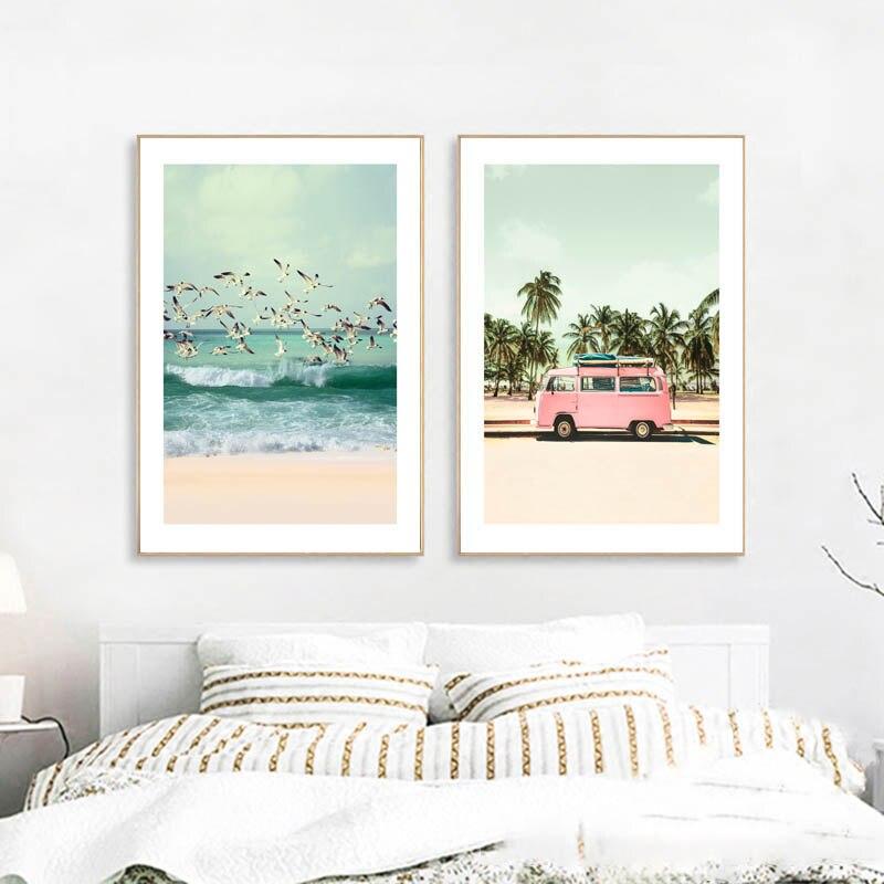 Póster Retro Estilo nórdico escandinavo Gaviota paisaje marino lienzo impresiones Rosa carteles e impresiones Playa Mar pared fotos sin marco