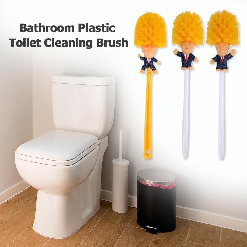 Cepillo Donald Trump, soporte de SUMINISTROS DE ASEO con retrato de cabeza Trump, polvo de papel, WC baño, Juego de cepillos de limpieza de silicona amarillo