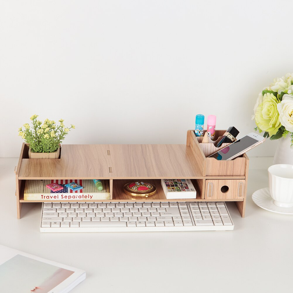 Wooden LCD Desktop PC Monitor Riser Organizer Household Stands Desks Bedroom Accessories for iMac Laptop Computer