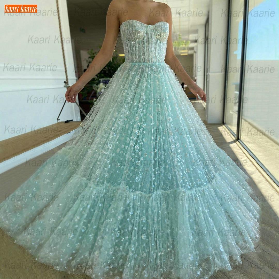 Vestido de fiesta largo de encaje azul hielo para mujer, traje de...