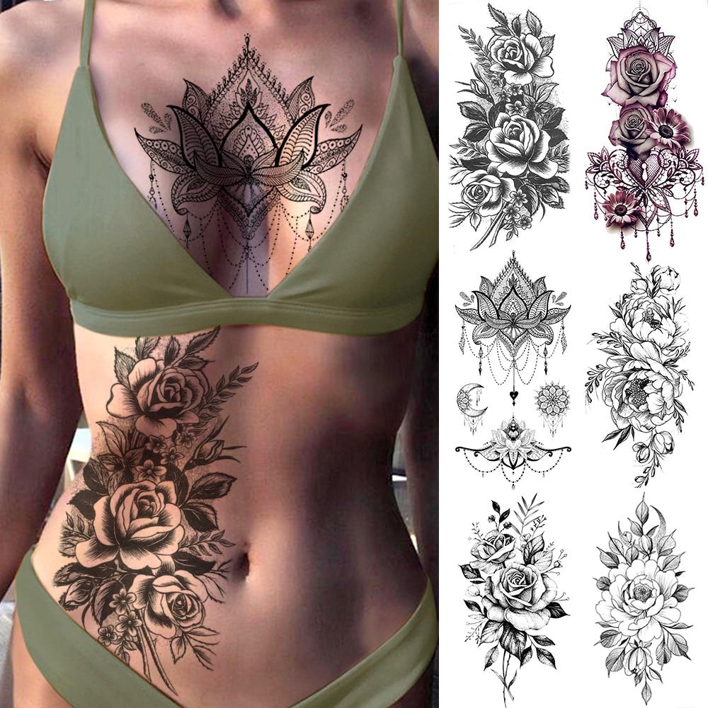Pegatinas de tatuaje de transferencia de agua de joyería de color rosa púrpura tatuaje temporal para el pecho del cuerpo de las mujeres tatuaje de la cintura de la muchacha pulsera Flash de la flor