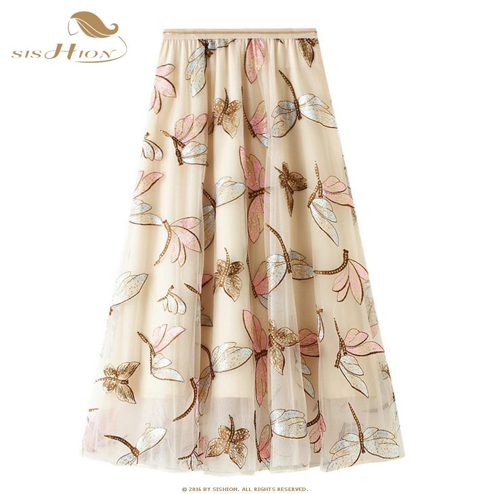 Sishion lantejoulas dragonfly bordado saia wf0133 damasco cinza senhoras longo tule saia plus size saias de malha