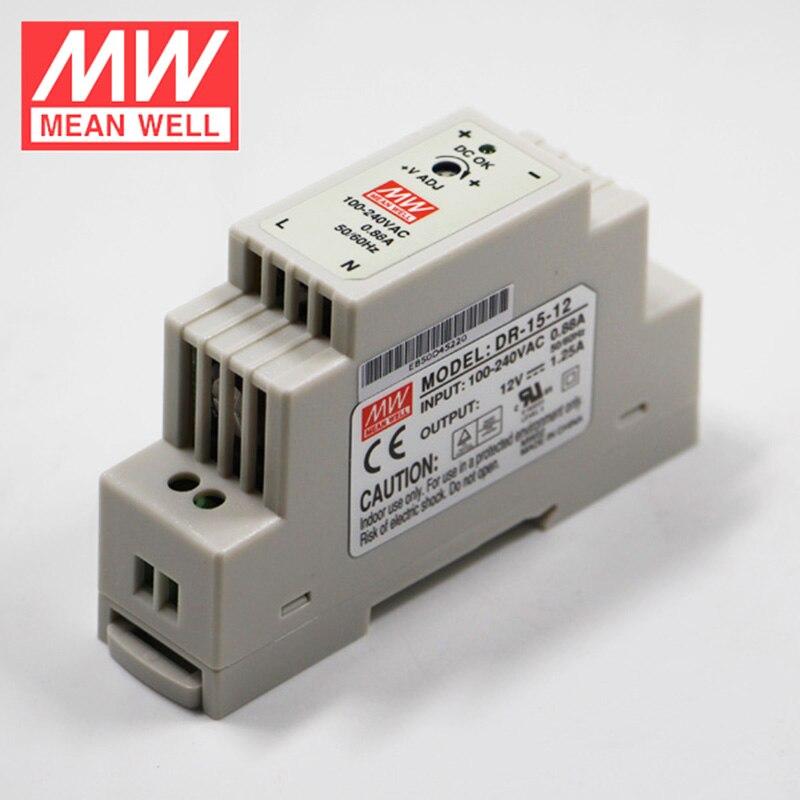 Оригинальный MEAN WELL DR-15 15 Вт din-рейка источник питания 110 В/220 В переменного тока до 5 в 12 В 15 в 24 В постоянного тока Meanwell промышленный цифровой трансформатор по стандарту DIN