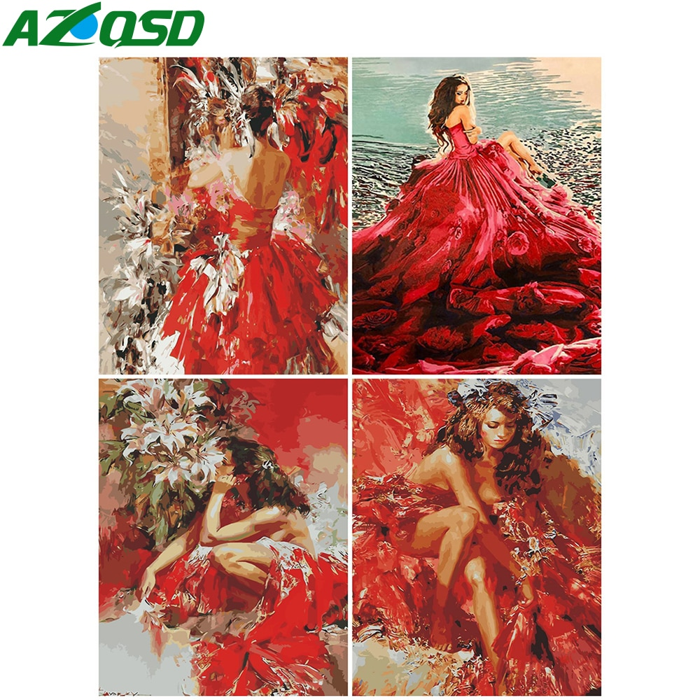 AZQSD pintura al óleo por números chica regalo hecho a mano DIY Unframe fotos lienzo con números retrato Kits de decoración de hogar
