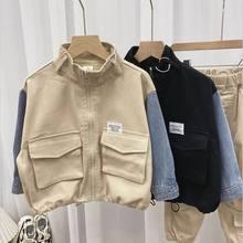 2021 New Boys Jackets Baby Coats Denim Splicing Long Sleeve Casual Kids Jackets for Boys Kids Clothe