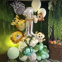 48pcsset jungle animal party foil number balloons set forest safari jungle giraffe kids 1 9th birthday party decors globos