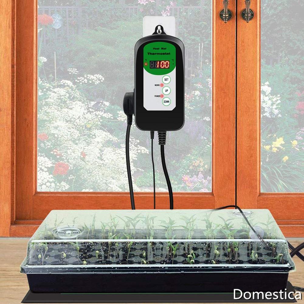 Instrumento regulador de Control de temperatura y humedad, Sensor Digital, almohadilla de calefacción, controlador de orugas para germinación de semillas de jardín