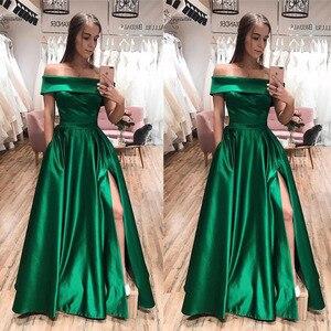 Off Shoulder Evening Dresses Long High Split Corset Back A-Line Simple Satin Prom Party Formal Gowns Vestido De Festa Cheap