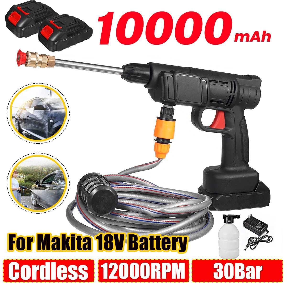 10000mAh Cordless High Pressure Washer Spray Water Gun Car Wash Pressure Water Nozzle Cleaning Machine for Makita 18V Battery
