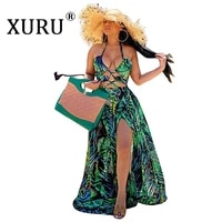 xuru hot selling digital printed dress 2021 summer new womens hanging neck long dress with european and american sexy dress