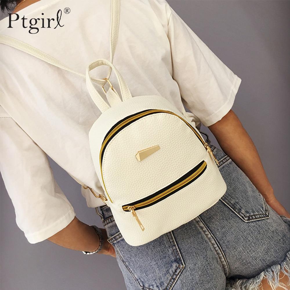 Fashion Women Mini Backpack PU Leather College Satchel School Rucksack Ptgirl Ladies Girls Casual Tr