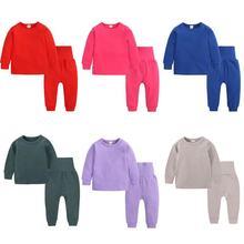 Kids Tales Family Matching Pajamas Set Children Plain Lounge Wear Baby Boys Girls Sleeping Teenager
