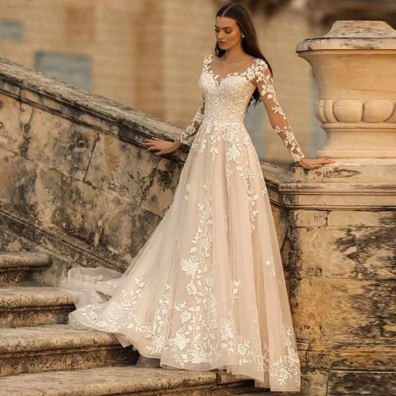 Promo Glitter Tulle Lace Applique Wedding Dress 2021 Long Sleeve Scoop Neck Vintage A Line Bridal Gown Lace-up Backless Elegant Ivory