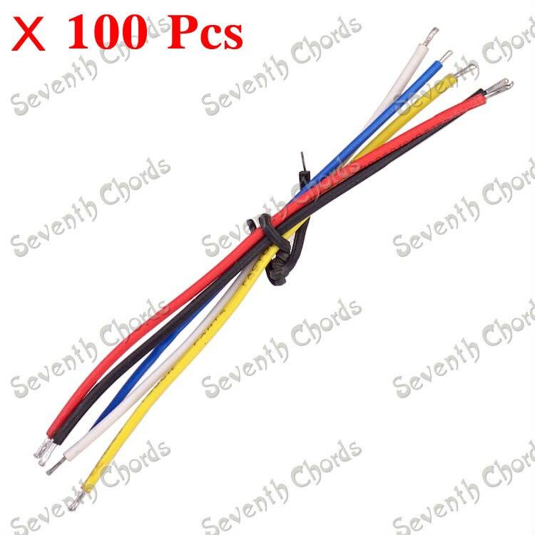 100 pces 90mm cobre captador cabo de ligação fio para guitarra elétrica baixo-vermelho-amarelo-azul-preto-branco para escolher