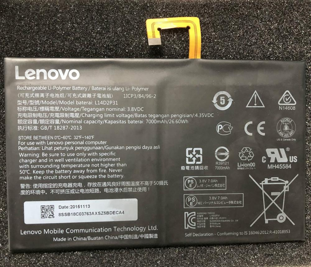 3.8V 7000mAh L14D2P31 For Lenovo Tab 2 A7600-F A10-70F Tab2 A10-70 A10-70L Battery