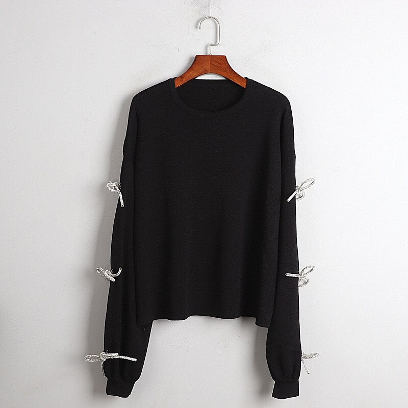 1101  2020  Autumn Free Shipping Sweater Crew Neck Long Sleeve Kint Black Fashion Womens Clothes    DL