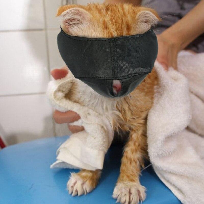 Focinhos de gato de náilon, máscara de cara de gato, ajudantes de groomer, ferramentas de preparação de gato, evitando arranhões e anti-mordidas, preto l