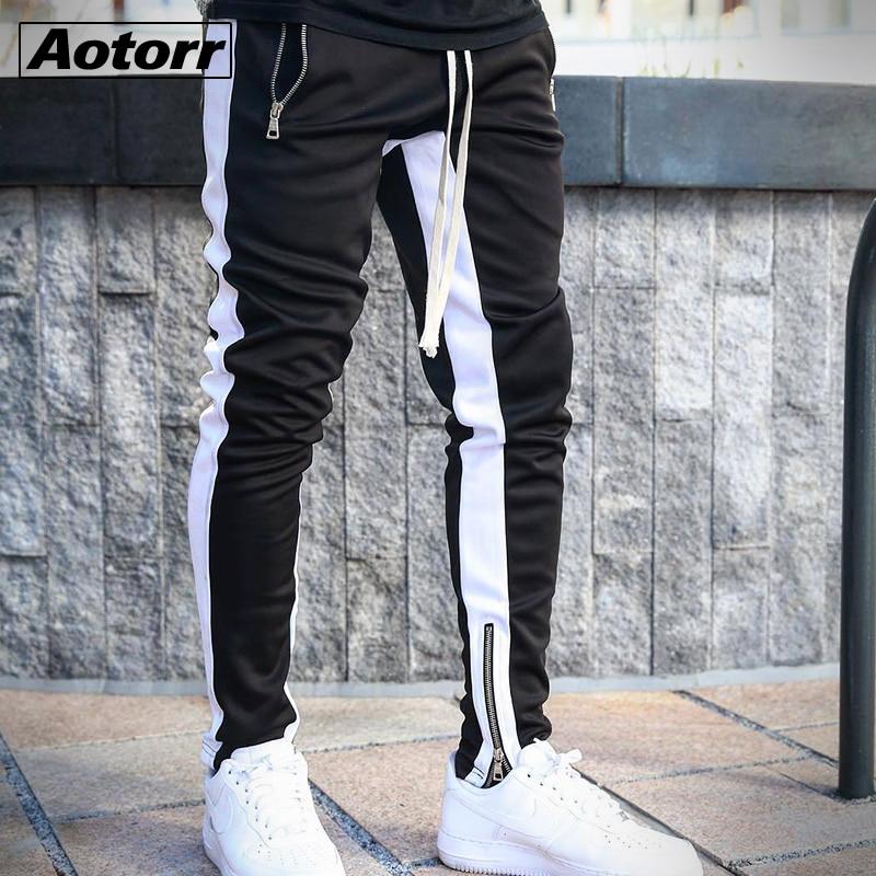 Men Side Stripe Fashion Pocket Pants Casual Streetwear Jogger Pant Hip Hop Zipper Bottom Male Pencil