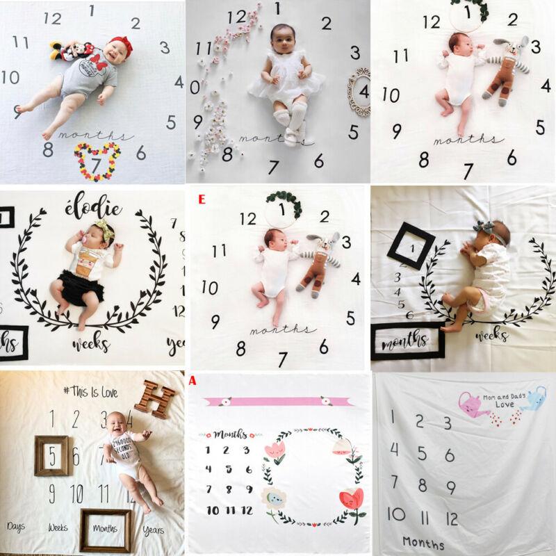 Manta de crecimiento mensual para bebés recién nacidos, accesorios de fotografía, paño de fondo conmemorativo, manta para niños y niñas, TIRO PARA NIÑOS