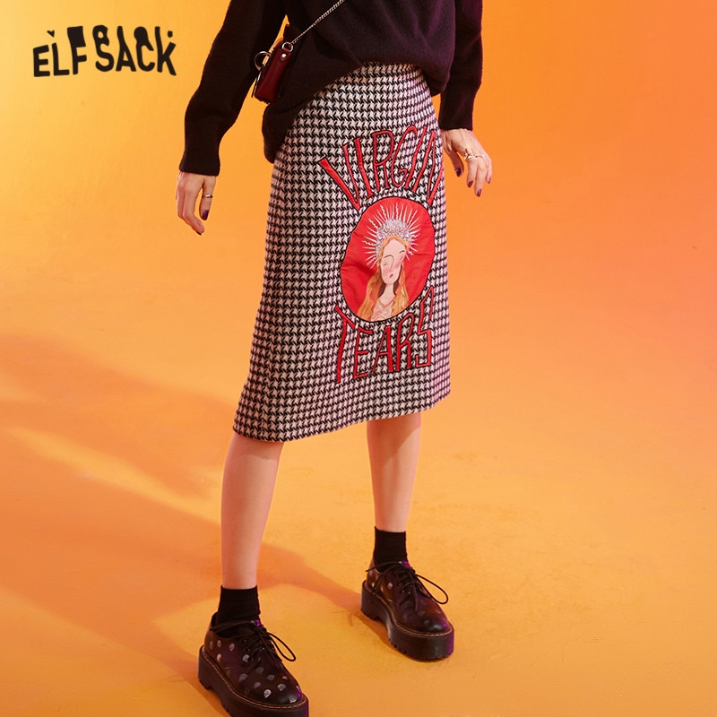 ELFSACK Black And White Houndstooth Goddess Applique Woolen Skirt Women 2020 Winter High Waist Split Skinny Office Ladies Skirts
