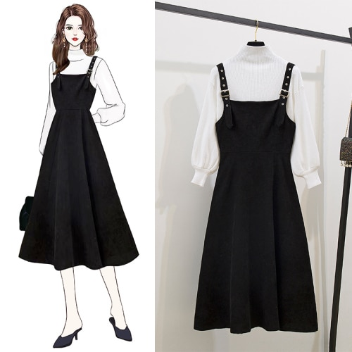 2020 Fashion Week Women A-line Dress Pullover  Elegant Vintage Solid Knit Turtle Neck Sweater 2 Piece Set Slim Dresses B19