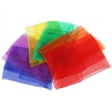 12 stücke 60*60cm Jonglieren Tücher Gymnastic Handtücher Tanzen Silk Schals Rot Gelb Orange Blau Lila Grün Schal polyester A30