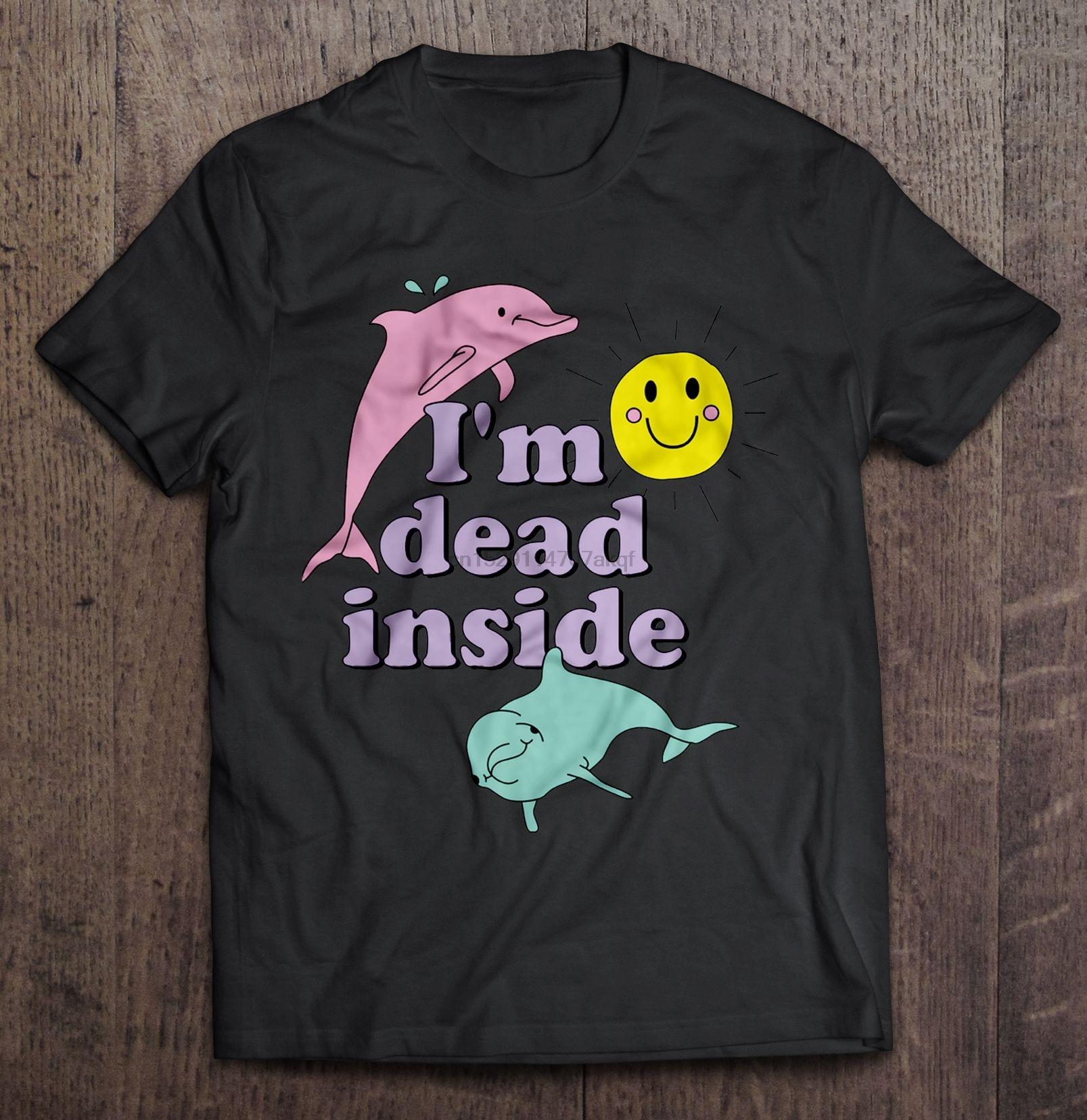 Мужская забавная футболка модная футболка I'm Dead Inside Dolphin версия женская футболка
