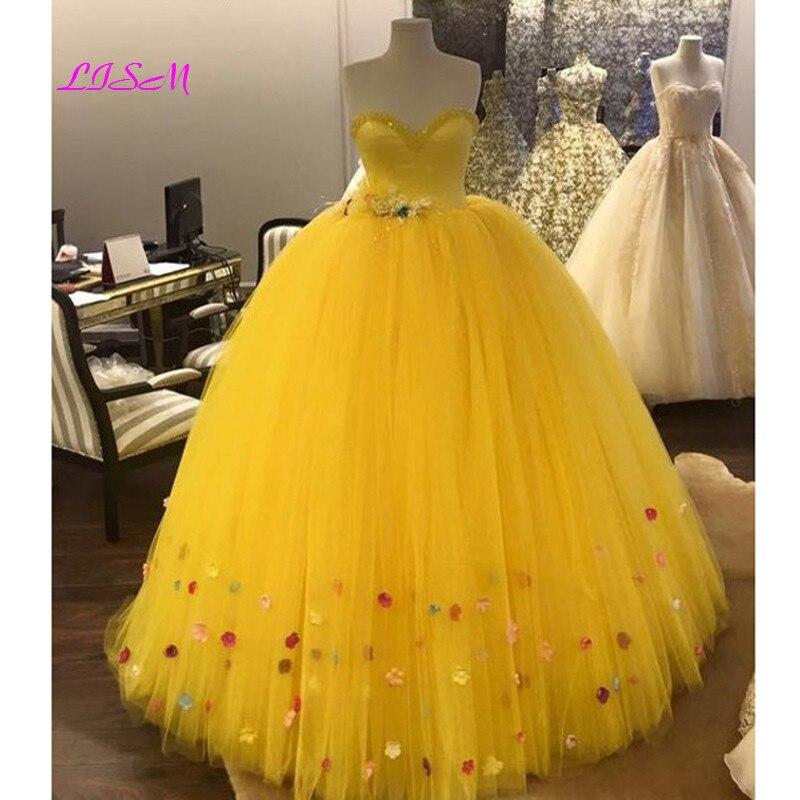 платье модель туника детское barkito желтые цветы желтое с белой отделкой Желтое бальное платье для милой принцессы, платье для Quinceanera 2021, бисерные 3D цветы, тюлевые вечерние платья, Длинные официальные платья