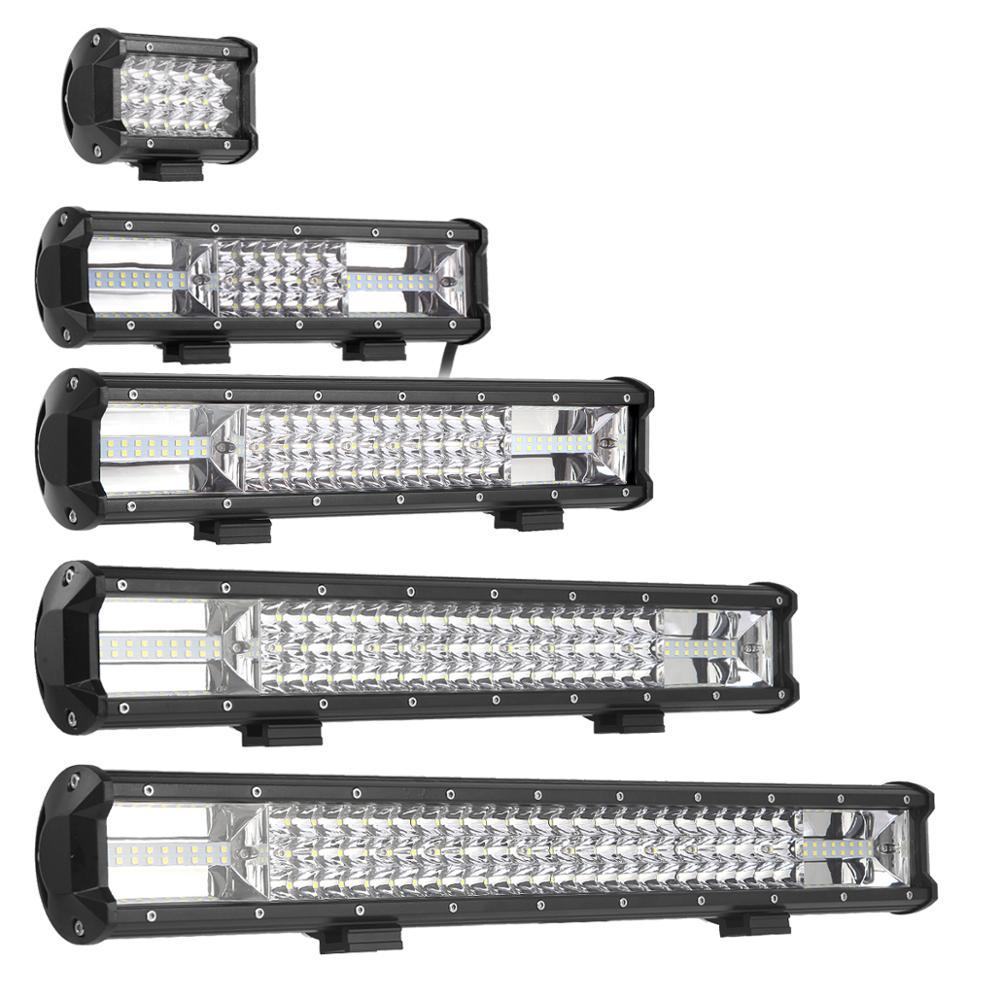 4-23 pulgadas de luz de LED Offroad Barra de 12V 24V Lámpara de trabajo camión SUV ATV 4x4 4WD coche camión furgoneta barco carro auxiliar conducción indicador