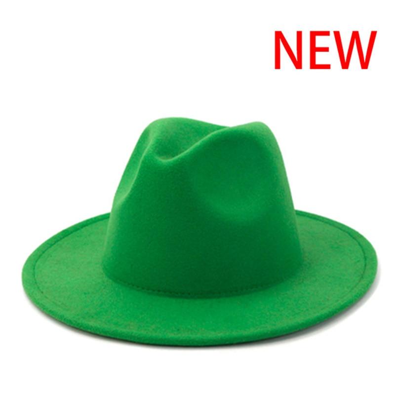 fedora hat women men solid classic simple wide brim felt hats vintage black white green wedding form