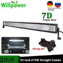 Willenskraft 52 zoll Offroad Led Bar 675W Gerade Combo LED Work Fahr Licht Bar für Auto Lkw Dach 4x4 SUV ATV Boot 12V 24V