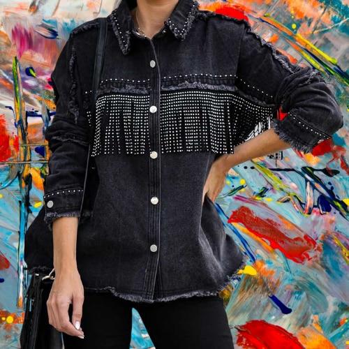 NEW long sleeve overshirt black jacket women 2020 vintage cotton denim fringe tassel casual autumn coat loose jean jackets