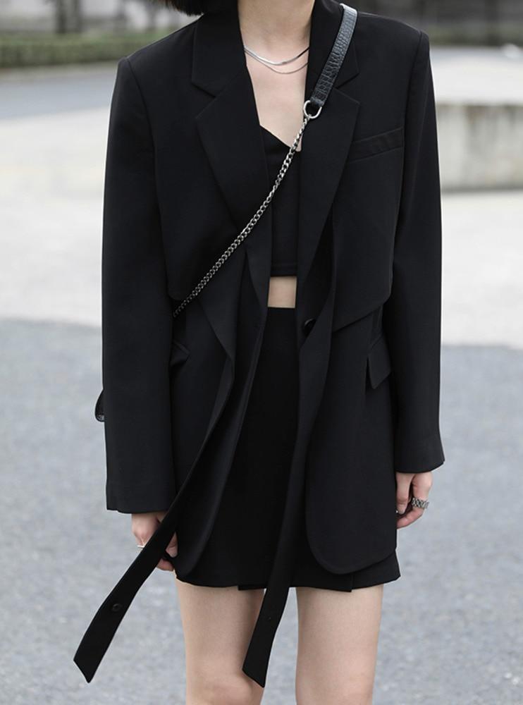 Design Cross Tie Suit Coat Asymmetric Short A-line Skirt Set
