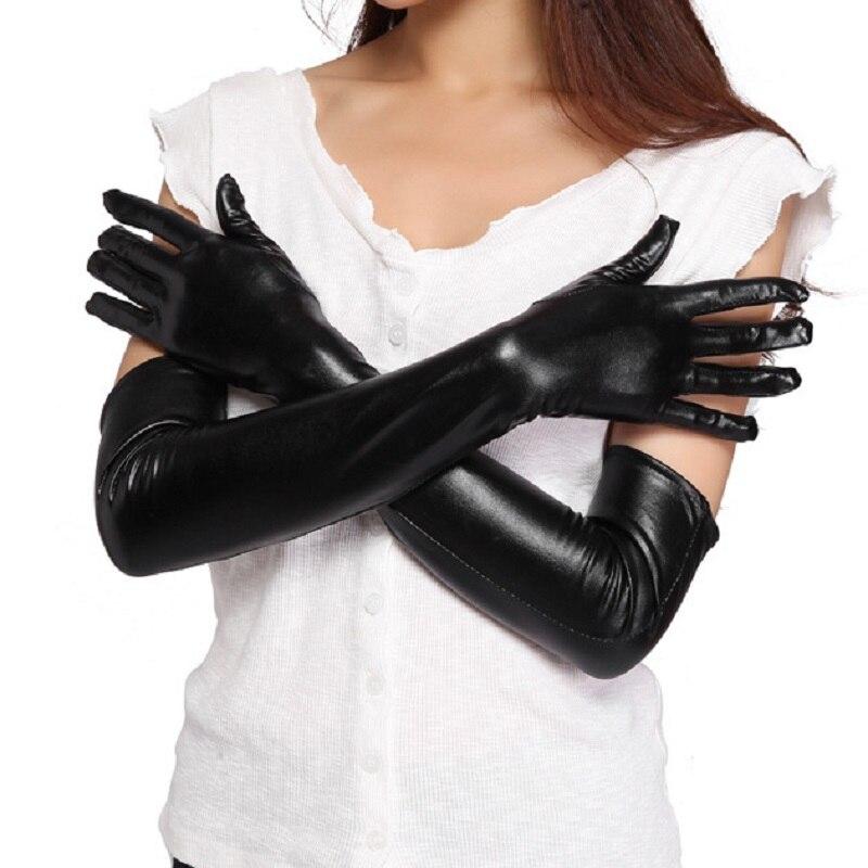 Длинные кожаные перчатки 2020, зимние женские модные перчатки из искусственной кожи, женские кожаные варежки, женские длинные стильные перча...