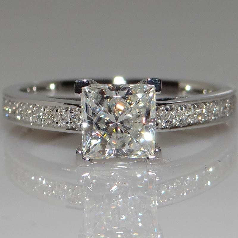 Anillo de diamante cuadrado de princesa blanca de 14K para mujer, anillo de diamante de imitación de circonita de Color plateado, anillo de compromiso de boda, joyería fina