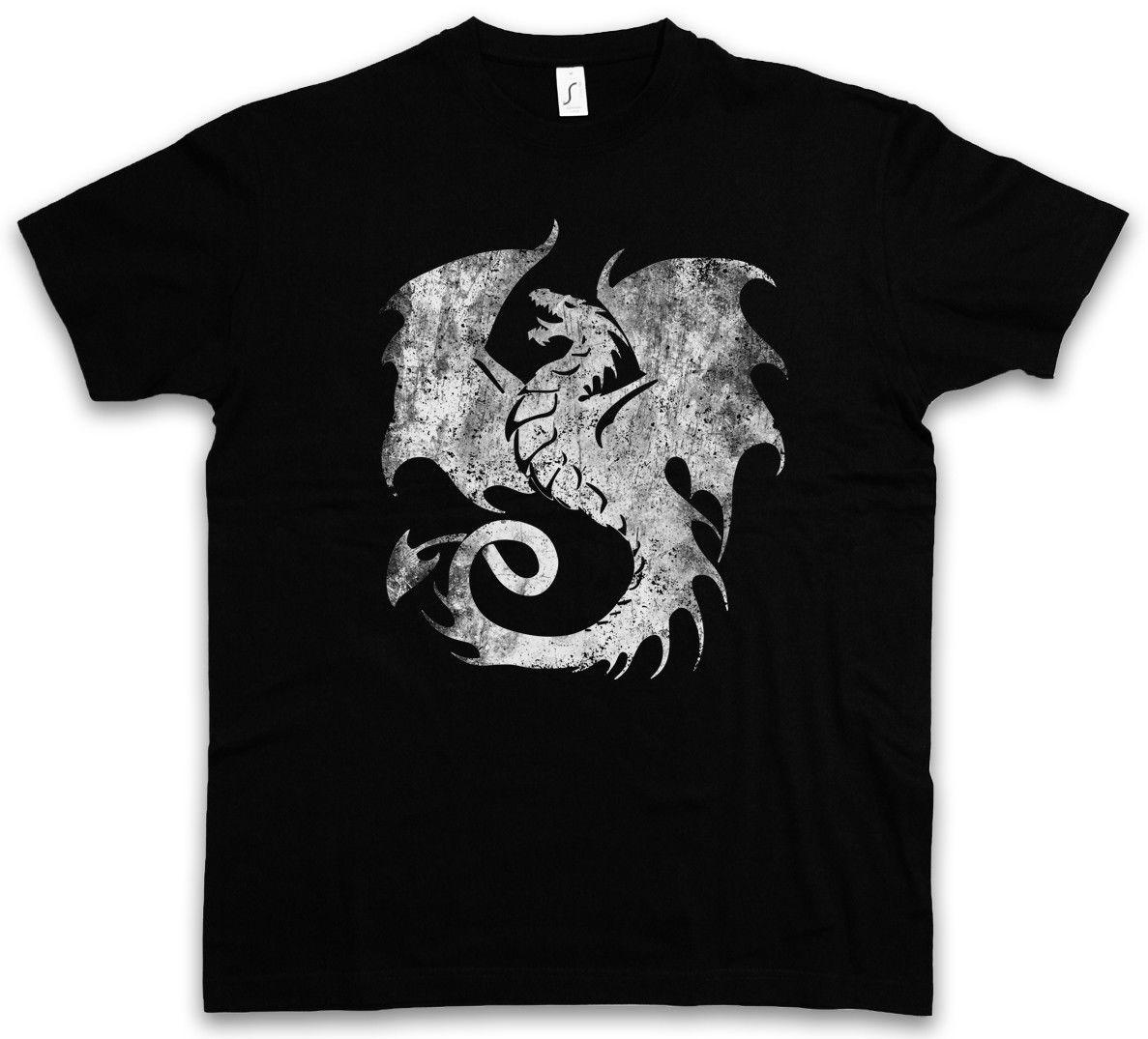 Camiseta dragão v tatuagem monstro medieval japonês ásia dungeon cavaleiro novidade legal encabeça manga curta t camisa masculina