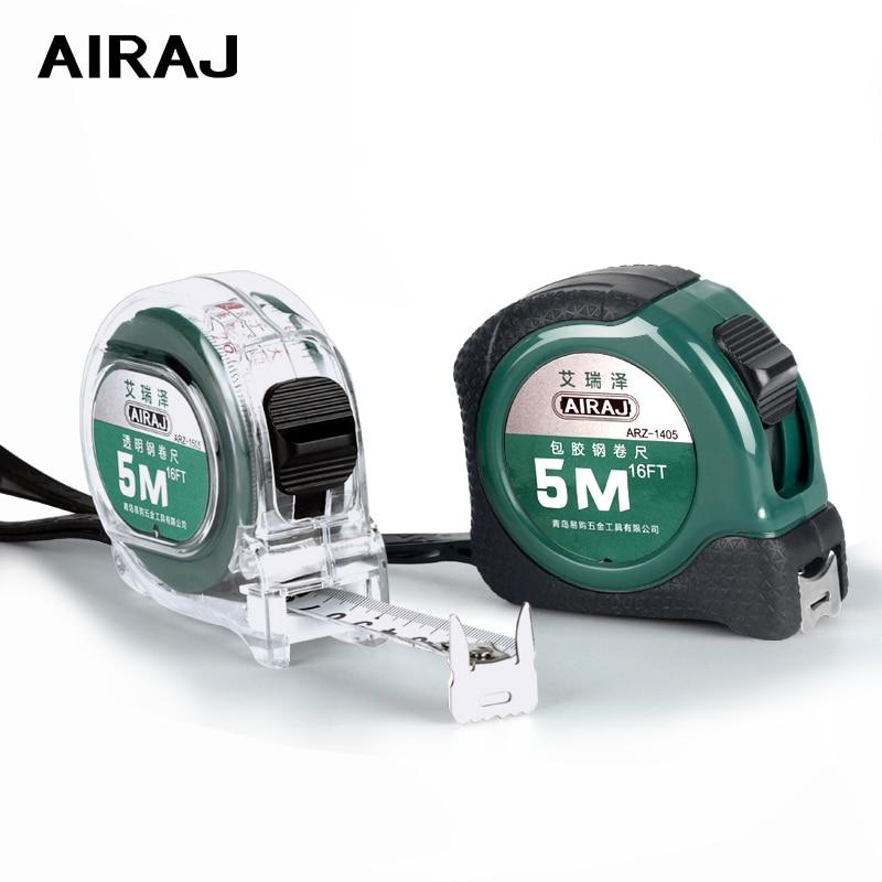 Cinta métrica portátil AIRAJ 3/5/7,5 M, cinta de acero de grado Industrial, medición de precisión, herramienta de medición Manual doméstica de alta calidad
