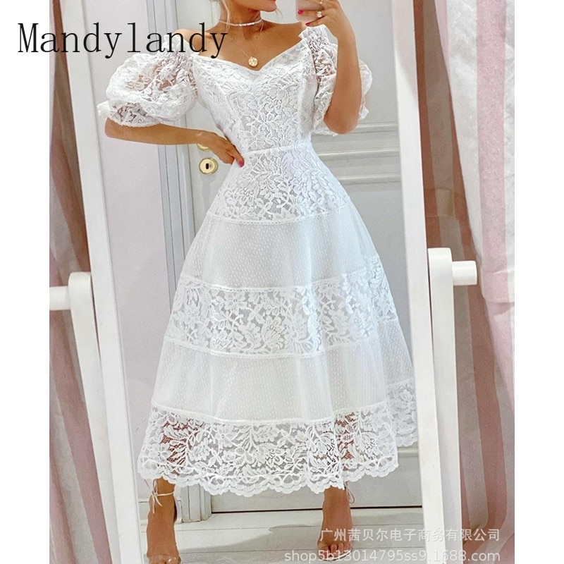 off shoulder self tie waist dress Mandylandy Dress Autumn V-neck Off-Shoulder Short Sleeve High Waist Stitching Dress Women's Casual Lace Embroidered Slim Dress