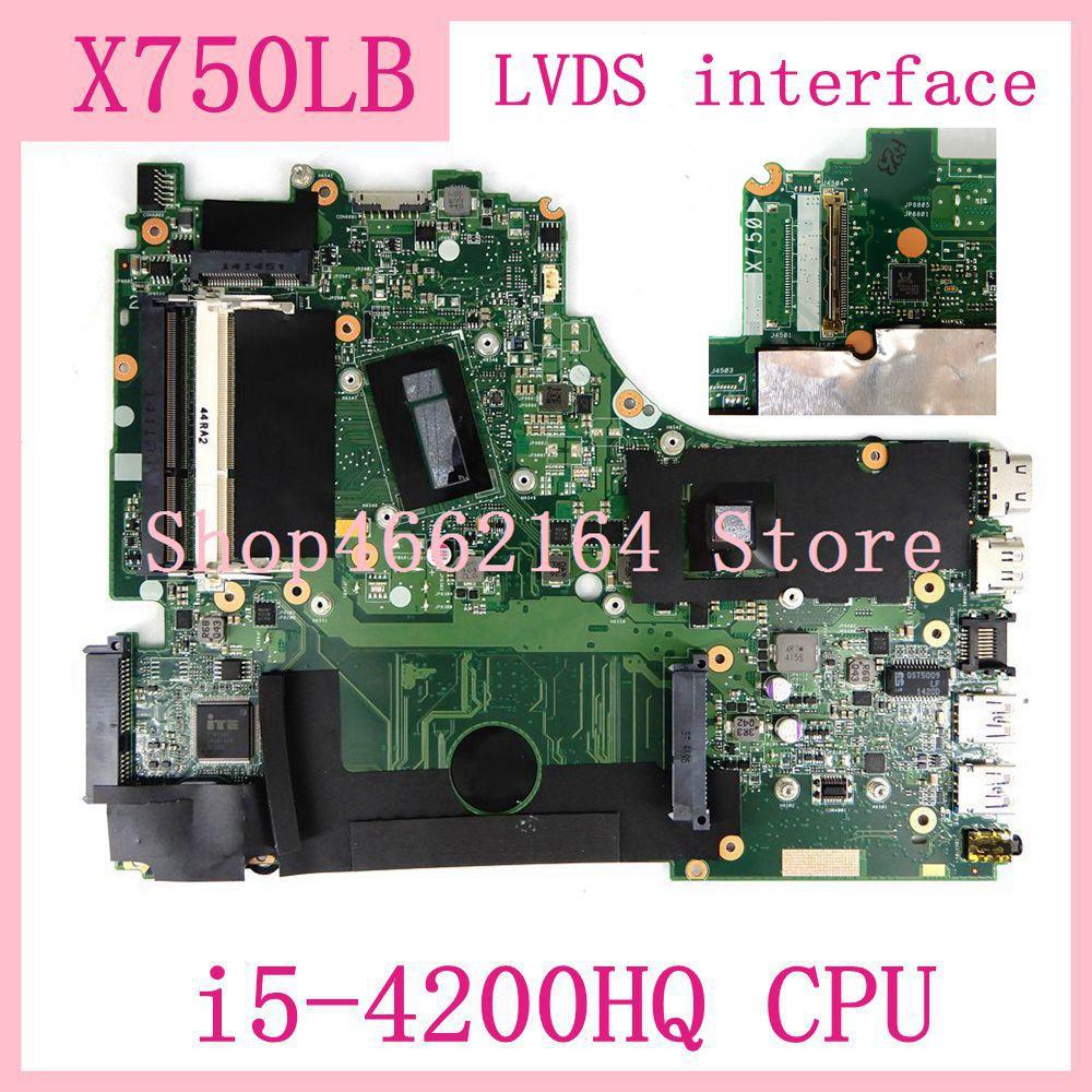 X750LB LVDS واجهة i5-4200HQ CPU اللوحة ل ASus X750L X750LN X750LB اللوحة المحمول 90NB0660-R00020 100% اختبار
