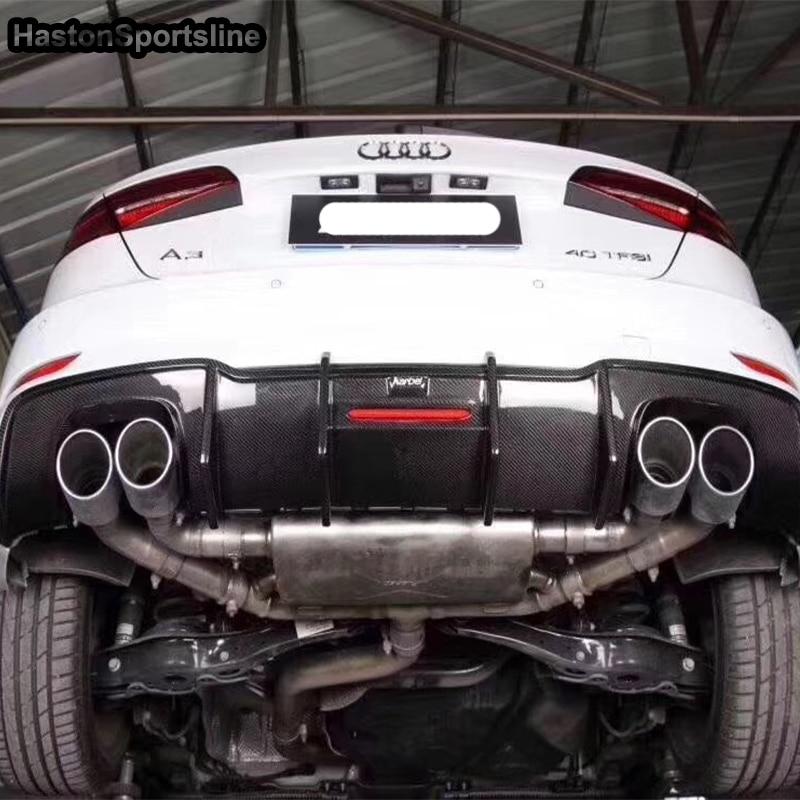 S3 fibra de carbono para difusor de parachoques trasero apto para Audi A3 S3 Sportback Hatchback sólo 2017 2018 2019