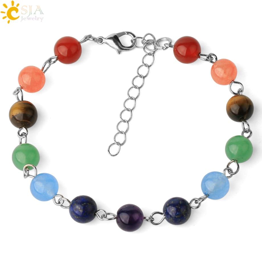 CSJA Natural Stones 7 Chakra Bracelet Reiki Yoga Balance Adjustable Link Chain Bracelets for Female Healing Trendy Jewelry E443