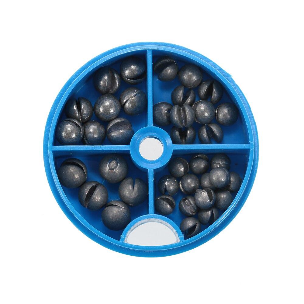 0,6/1/1.5/1.8g partido redonda pesas de plomo para disparar pesas de plomo puro abiertas extraíbles aparejos de pesca señuelo de frijoles con caja