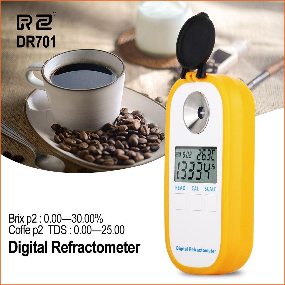 RZ-مقياس انكسار رقمي محمول ، جهاز لقياس نسبة السكر في القهوة ، بريكس ، TDS 0-25% ، مقياس تركيز إلكتروني
