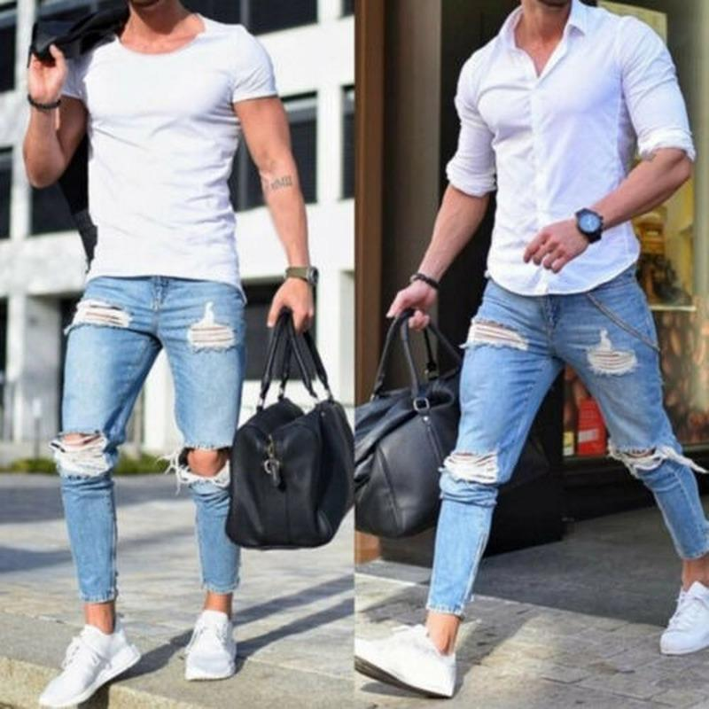 Mens Skinny Ripped Stretch Jeans Destroyed Casual Denim Pants Trousers Fashion five pockets destroyed skinny jeans