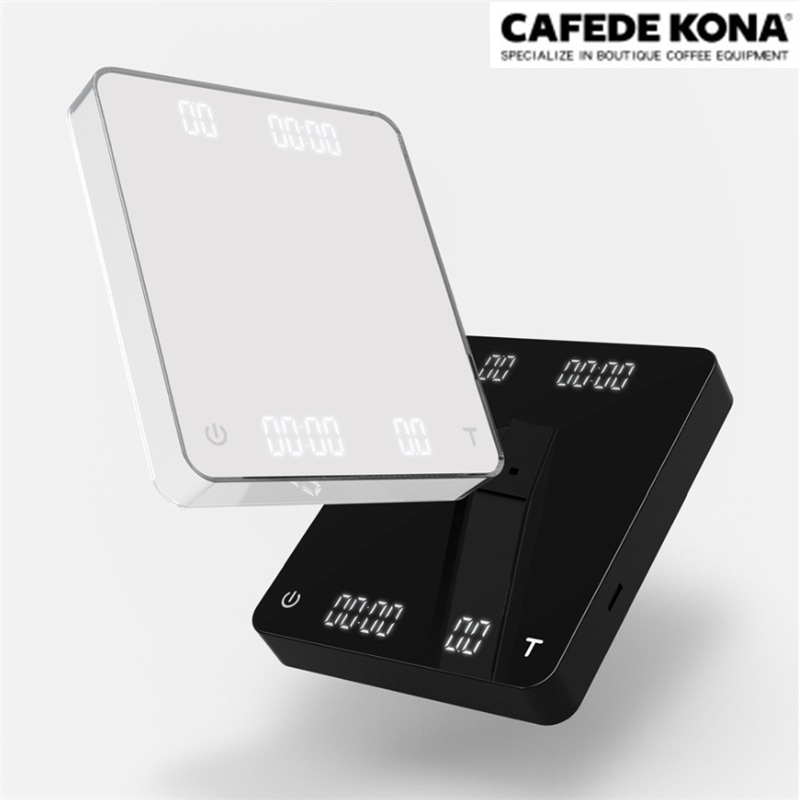 CAFEDE KONA kaffee skala mit timer USB dual-screen kaffee elektronische waage LED smart digital küche skala 3KG/0,1g Tropf Skala