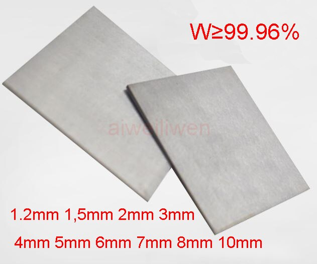 1.2mm 1,5mm 2mm 3mm 4mm 5mm 6mm 7mm 8mm 10mm folha de tungstênio da placa de wolfram folha de tungstênio w-ni-fe qtng w99 99. 96%