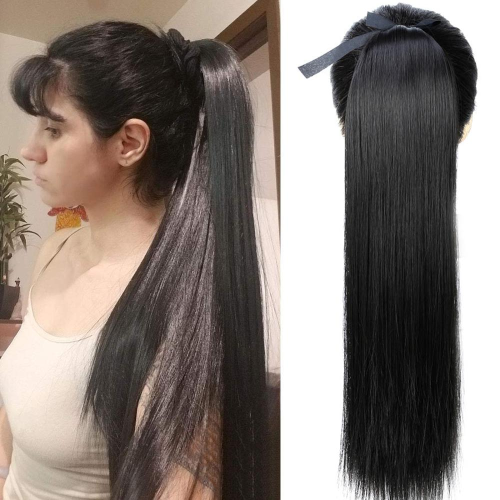 SHANGKE Hair 22 Long Straight Ponytails Clip In Ponytail Drawstring Synthetic Pony Tail Heat Resistant Fake Extensions
