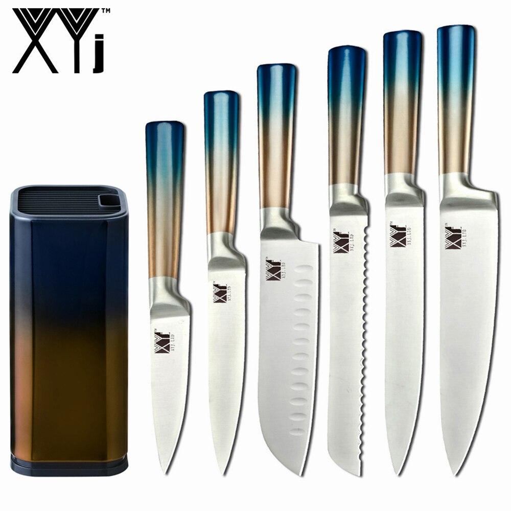 XYj سكاكين المطبخ مجموعة الفولاذ المقاوم للصدأ الطبخ القطاعة الشيف الخبز فائدة سكين التقشير 8 ''بوصة سكين صندوق تخزين أدوات الوقوف