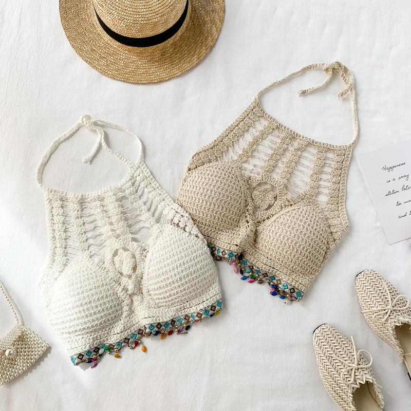 Camiseta sin mangas de ganchillo ahuecada, top de mujer, corpiño, beis, vacaciones en la playa, Sexy, sin mangas, de punto, sin mangas, top corto para mujer