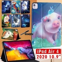 2020 case for ipad air 4 10 9 inch tablet stand folio cover cute animal series protective shell free stylus